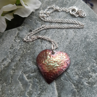 Domed Oxidised Copper Heart Pendant With Sterling Silver Chain