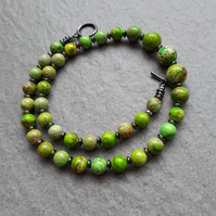 Green Terra Jasper and Haematite Beaded Necklace Black Tone Clasp