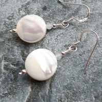 Mother Of Pearl And Aquamarine Sterling Silver Shell Earrings