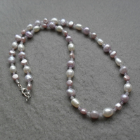 Pastel Colours Pearl Necklace With Amethyst Semi Precious Gemstone Necklace
