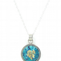 'Indian Memories' Turquoise silver and enamel pendant.
