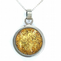 'Indian Memories' Golden Yellow silver and enamel pendant.