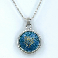 'Indian Memories' silver and Blue Grey enamel pendant.