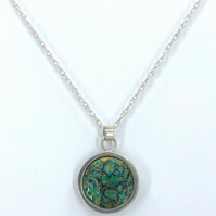'Indian Memories' silver and Blue Green enamel pendant.