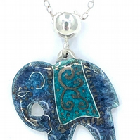 Silver and Blue Grey and Turquoise enamel Elephant pendant