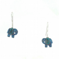 Silver and Blue Grey and Turquoise enamel Elephant earrings