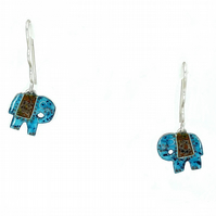 Silver and Turquoise with deep red enamel Elephant earrings