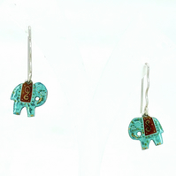 Silver and Turquoise green with deep red enamel Elephant earrings
