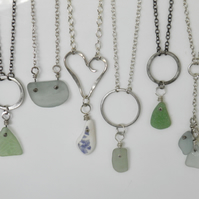 Silver Sea Glass Necklace