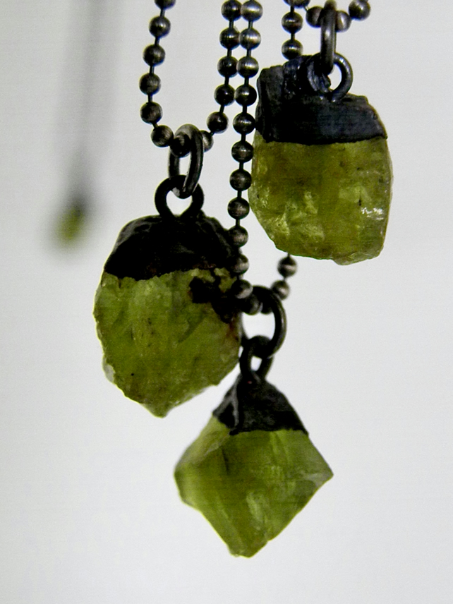 Raw Peridot Necklace with Sterling Silver Ball Chain