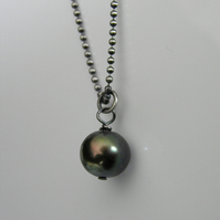 Tahitian Pearl Necklace with Sterling Silver Ball Chain