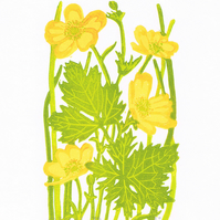 Buttercups - Limited edition Linocut Print