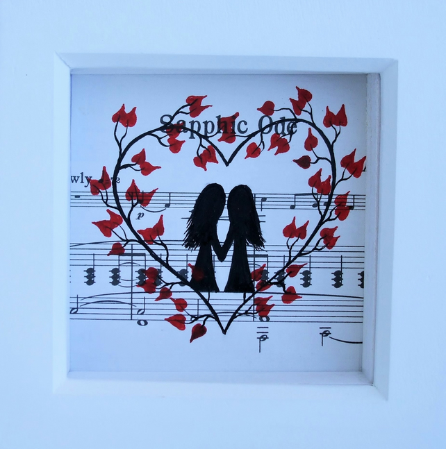Framed Heart Picture, Lesbian Gift, Romantic Music Art, Anniversary Gift, Love