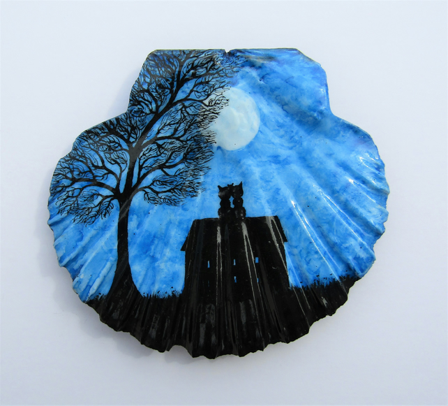Cat Painting on Shell, Black Cats House Tree Moon, Unique Gift, Silhouette Art