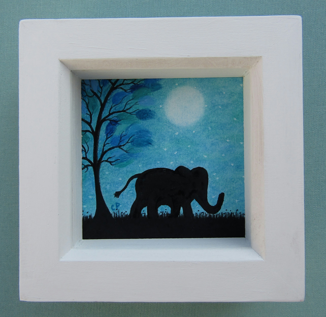 Elephant Picture, Framed Art Drawing, Childrens Gift, Pastel Elephant Silhouette