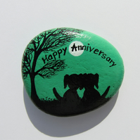 Dog Anniversary Gift, Hand Painted Rock, Unique Anniversary Gift, Stone Art Dogs