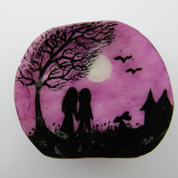 Romantic Gift, Couple Moon, Shell Painting, Unique Wedding Gift, Love Art, Tree