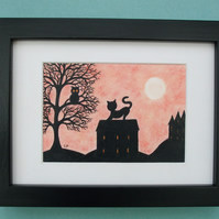 Cat Picture, Framed Art, Owl Tree Cat House Silhouette Drawing, Black Cat Gift