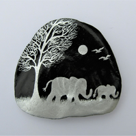 Elephant Art Gift, Hand Painted Shell, Mother and Baby Elephant, Daughter Gift