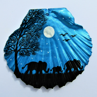 Painted Shell, Elephants Mothers Day Gift, Baby Animal Art, Moon Stars Tree