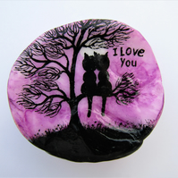Love Gift For Her, Cats Tree Painting on Shell, Unique Anniversary Gift for Him