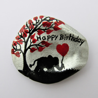 Elephant Birthday Card, Unique Daughter Card, Hand Painted Shell, Heart Elephant