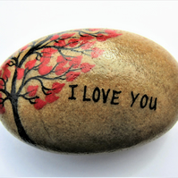 Painted Rock, Love Gift for Him, for Her, I Love You Tree Hearts, Anniversary