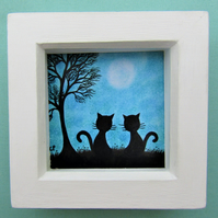 Cat Picture, Framed Art Print, Black Cats Gift, Blue Tree Moon Cat, Small Frame