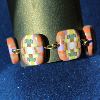 Mosaic Pattern in Lovely Colors - Designer Polymer Clay Bracelet