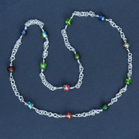 Silver Necklace With Lovely Beads - Hand Crafted - Sterling Silver, Murano Glass