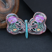 Ornate Butterfly Brooch - Intricate Mosaic Polymer Clay Handmade Badge