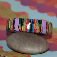 Tropical Colors Bangle - Polymer Clay Designer Bangle - Handmade - Unique