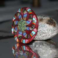 Whirling Spiral Brooch - Pin Badge - Handmade in Many Colours