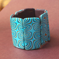 Cosmic Swirls In Sapphire Blues - Cuff Bracelet - Small Fit