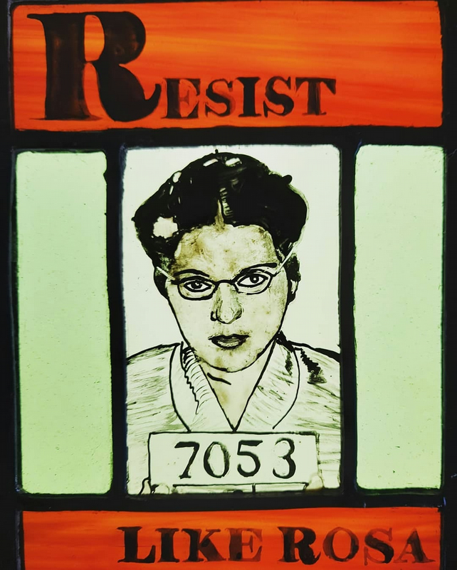 Contemporary Stained Glass - Resist Like Rosa