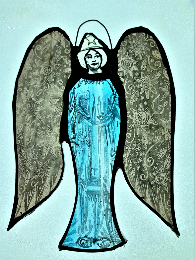 Contemporary Stained Glass - Guardian Angel of Flora and Fauna