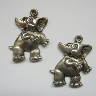 2 Large Elephant Charms