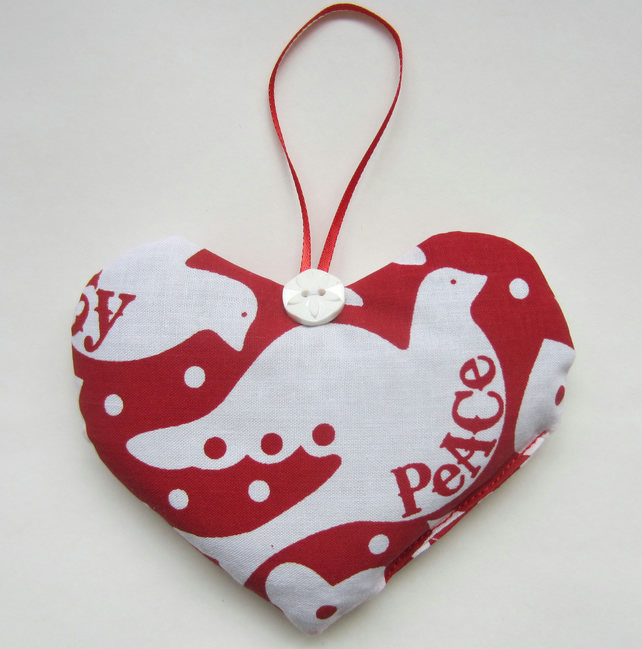Christmas Hanging Lavender Heart - Dove of Peace