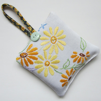 Vintage Embroidered Yellow Flower Lavender Bag