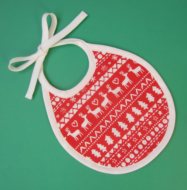 Babies First Size Christmas Bib