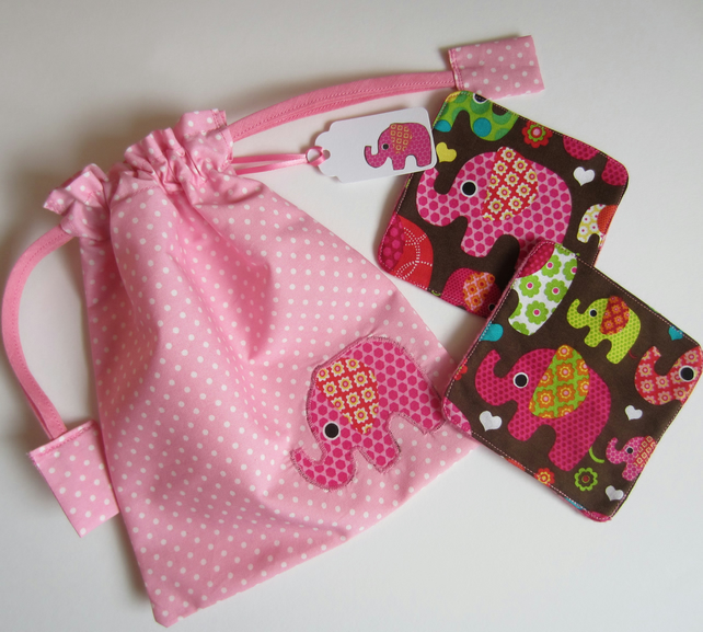 2 Elephant Make Up Remover Pads with Drawstring Bag and Gift Label