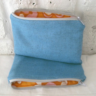 Handmade Recycled Blue Wool Flower Power Pouch