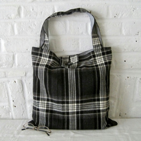 Handmade Recycled Black & White Check Bag