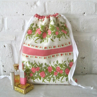 Handmade Recycled French Flowers Wash Bag