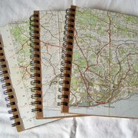 Handmade Recycled Map Notebooks
