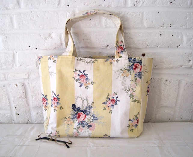 Handmade Recycled Stripes & Flowers Bag