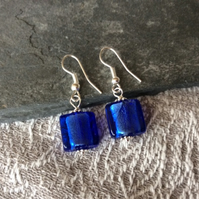 Royal Blue Recycled Square Glass Drop Earring