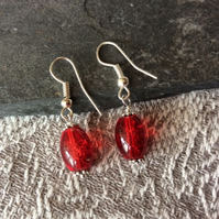 Red Crackle Glass Silver Drop Earrings