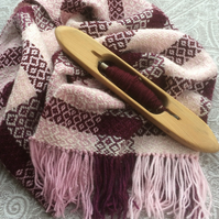 Hand Woven Pink & Dark Red Check Scarf