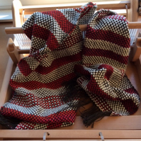 Handwoven Red & White Striped Scarf
